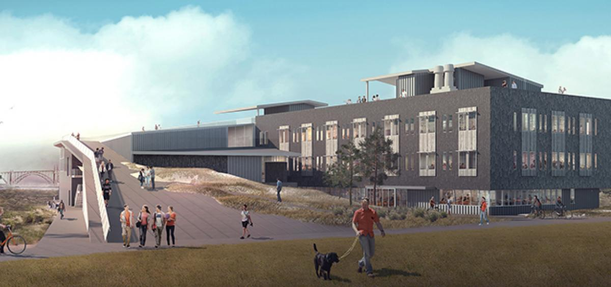Sketch of new Marine Studies Building to be constructed in Newport, Oregon.